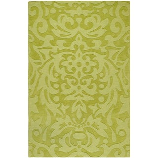 Hand-crafted Green Damask Hale Wool Rug (2' x 3')