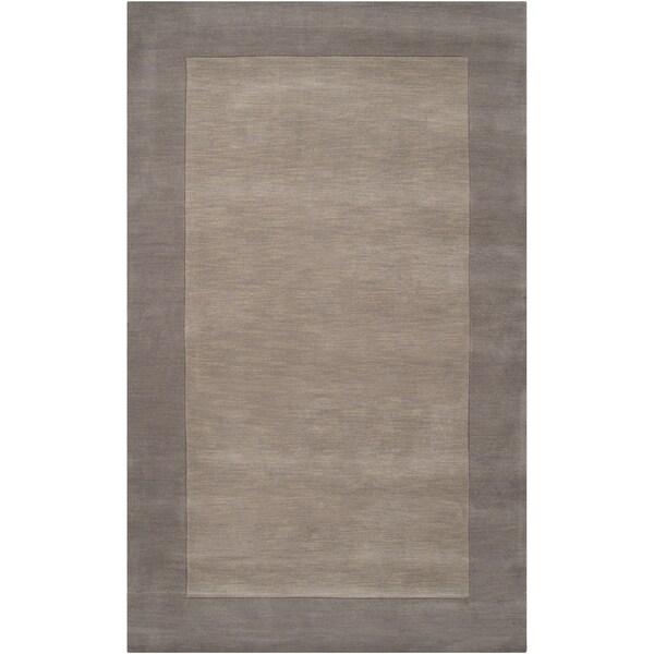 Hand-crafted Grey Tone-On-Tone Bordered Halfway Wool Rug (2' x 3')