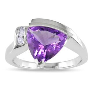 Miadora 14k White Gold Amethyst and Diamond Accent Ring (I-J, I1-I2)