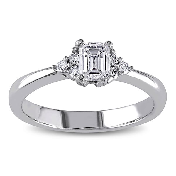 Miadora Signature Collection 14k White Gold 1/2ct TDW Emerald Cut Diamond Engagement Ring (G-H, I1-I2)