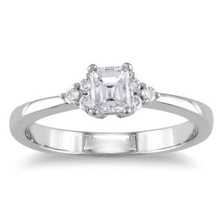 Miadora 14k White Gold 1/2ct TDW Emerald Cut Diamond Engagement Ring (G-H, I1-I2)