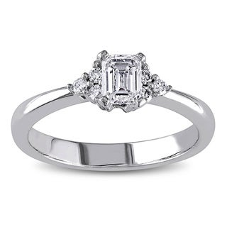 Miadora 14k White Gold 1/2ct TDW Emerald Cut Diamond Engagement Ring (G-H, I1-I2)