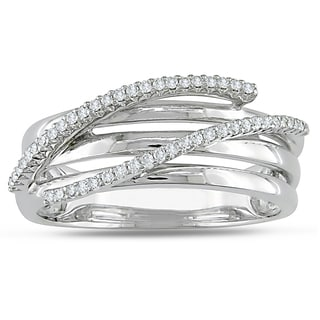 Miadora 10k White Gold 1/6ct TDW Diamond Ring (H-I, I2-I3)