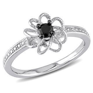 Haylee Jewels Sterling Silver 1/4ct TDW Black Prong-set Diamond Ring
