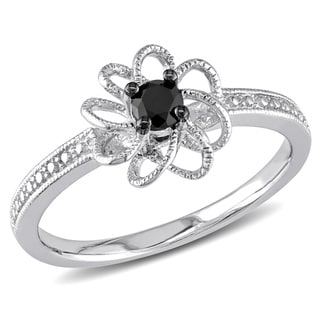 Miadora Sterling Silver 1/4ct TDW Black Prong-set Diamond Ring