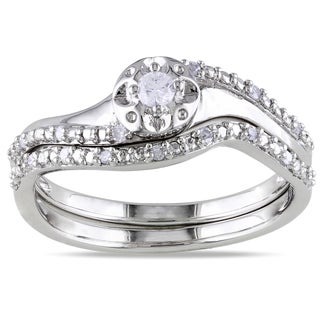 Haylee Jewels Sterling Silver 1/6ct TDW Diamond 2-Piece Ring Set (G-H, I2-I3)