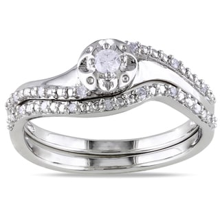 Sterling Silver 1/6ct TDW Diamond 2-Piece Ring Set (G-H I2-I3)