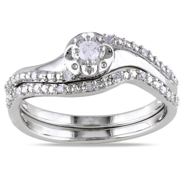 Miadora Sterling Silver 1/6ct TDW Diamond 2-Piece Ring Set (G-H I2-I3)