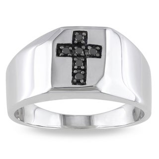 Miadora Sterling Silver Men's 1/10ct TDW Black Diamond Cross Ring