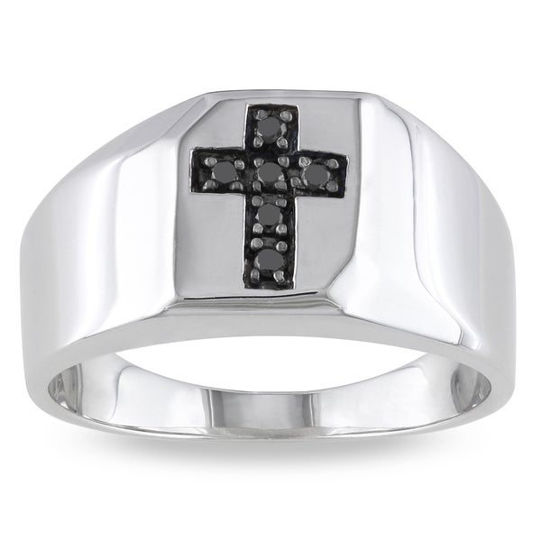 Miadora Sterling Silver 1/10ct TDW Men's Black Diamond Cross Ring