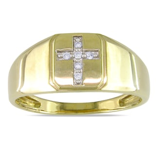 Miadora 10k Yellow Gold Men's Diamond Ring (H-I, I2-I3)
