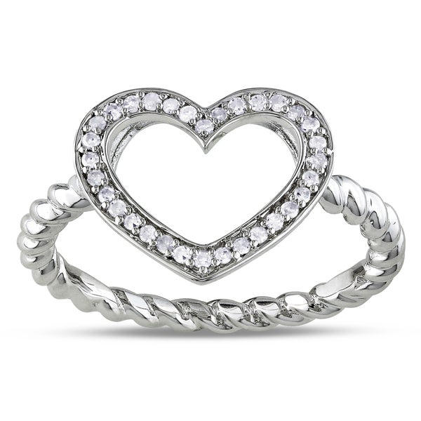 Haylee Jewels Sterling Silver 1/8ct TDW Diamond Heart Ring (G-H, I1-I2)