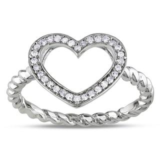 M by Miadora Sterling Silver 1/8ct TDW Diamond Heart Ring (G-H, I1-I2)