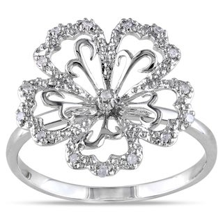 Miadora 14k White Gold 1/10ct TDW Diamond Flower Ring (H-I, I2-I3)