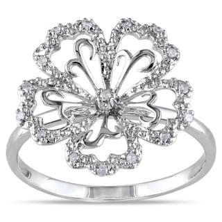 Miadora 14k White Gold 1/10ct TDW Diamond Flower Ring (H-I, I2-I3)