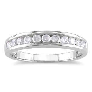 Miadora Sterling Silver 1/2ct TDW Channel Diamond Wedding Band (H-I, I2-I3) with Bonus Earrings