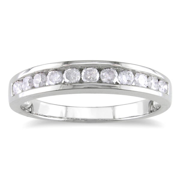 Miadora Sterling Silver 1/2ct TDW Channel Diamond Wedding Band (H-I, I2-I3)