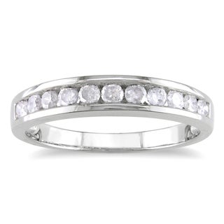 Miadora Sterling Silver 1/2ct TDW Diamond Semi Eternity Ring (H-I, I2-I3)