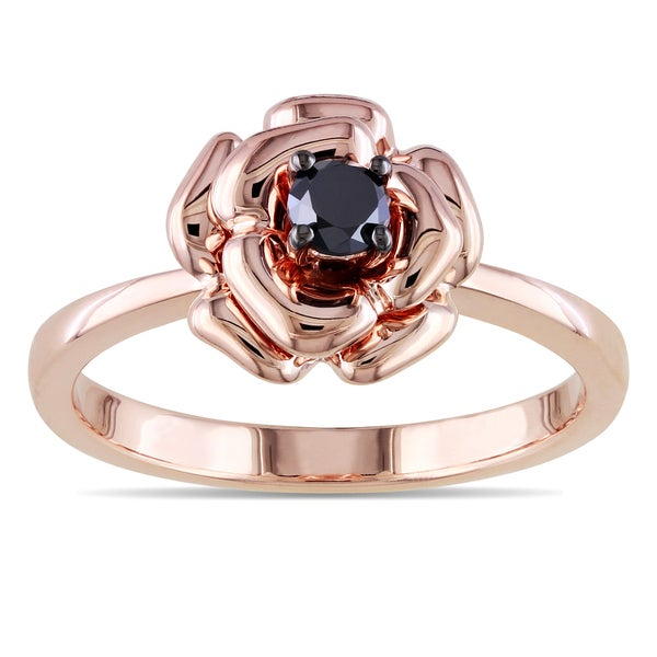 Haylee Jewels Rose Plated Silver 1/4ct TDW Black Diamond Flower Ring