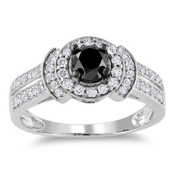 Miadora 14k White Gold 1ct TDW Black and White Diamond Halo Ring (G-H, I1-I2)