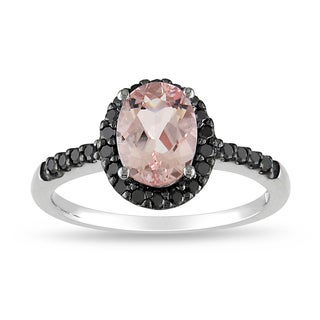 Miadora 14k White Gold Morganite and 1/4ct TDW Black Diamond Ring