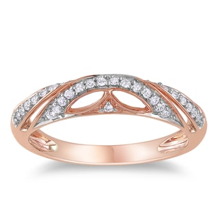 Miadora Rose-plated Silver 1/8ct TDW Diamond Ring (H-I, I3)
