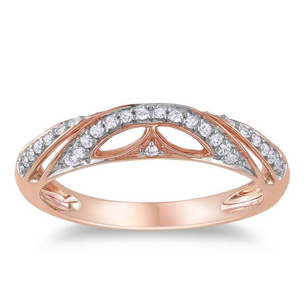 Miadora Rose-plated Silver 1/8ct TDW Diamond Ring (H-I, I3)