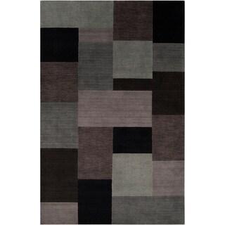 Loomed Hawkesbury Grey Geometric Patches Wool Rug (2' x 3')
