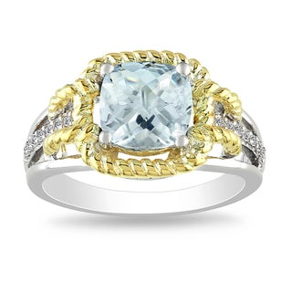 Miadora Two-tone Silver Aquamarine and Diamond Ring (H-I, I2-I3)