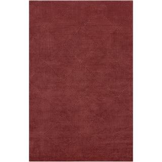 Hand-knotted Hemet Red Geometric Wool Area Rug - 2' x 3'