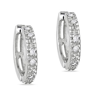 Miadora 14k White Gold 1/8ct TDW Diamond Huggie Earrings (J-K, I2-I3)