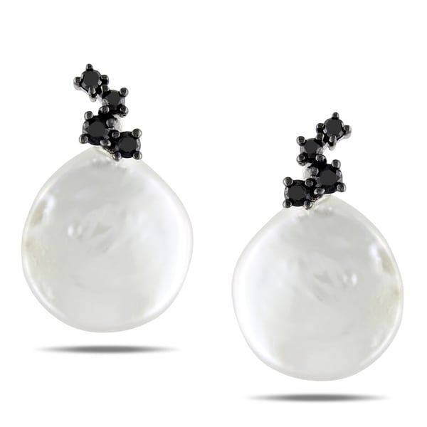 Miadora Sterling Silver Pearl and 1/4ct TDW Black Diamond Earrings