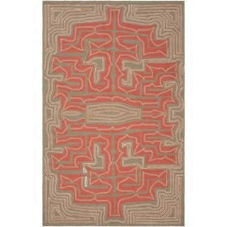 Hand-hooked Hilshire Red Indoor/Outdoor Geometric Rug (2' x 3')