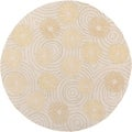 Hand-hooked Holiday Beige Indoor/Outdoor Floral Rug (8' x 8')