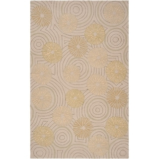 Hand-hooked Holland Beige Indoor/Outdoor Floral Rug (2' x 3')
