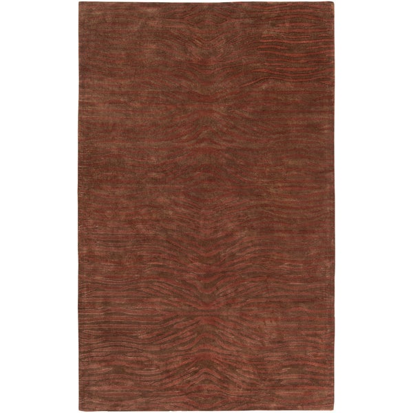 Hand-tufted Jefferson Brown Wool Rug (2' x 3')