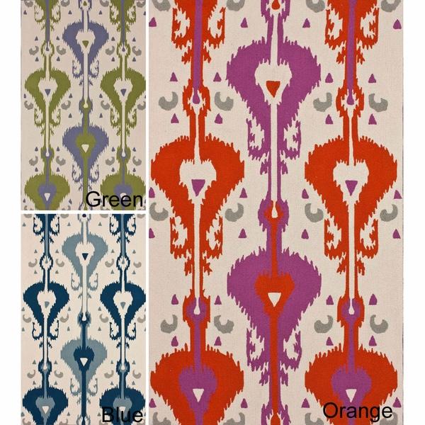 nuLOOM Handmade Bold Ikat Print Wool Rug (5' x 8')