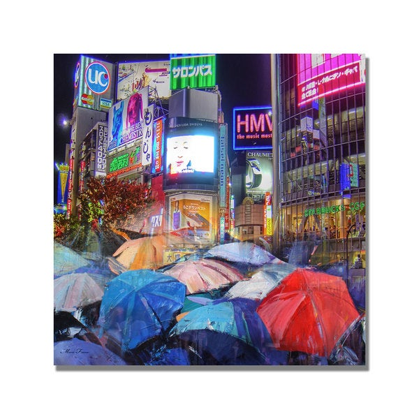 'Rainy Night in Tokyo' Canvas Art