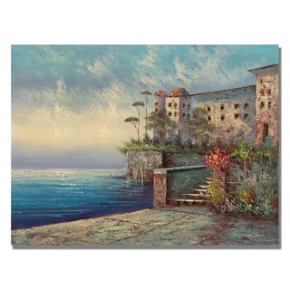 Rio 'Bellagio Lakeside Promenade' Canvas Art