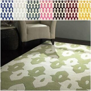 nuLOOM Abstract Handmade Modern Ikat Trellis Wool Rug (5' x 8')