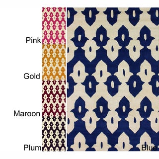 nuLOOM Abstract Handmade Modern Ikat Trellis Wool Rug (5' x 8')