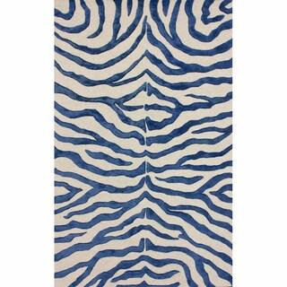 nuLOOM Handmade Zebra Blue Faux Silk / Wool Rug (5' x 8')