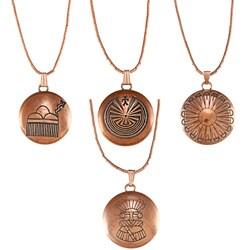Southwest Moon Copper Maze Concho Liquid Metal Necklace