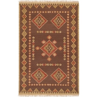 Hand-woven Red/Brown Southwestern Aztec Kelso Hard Twist Wool Rug (2' x 3')