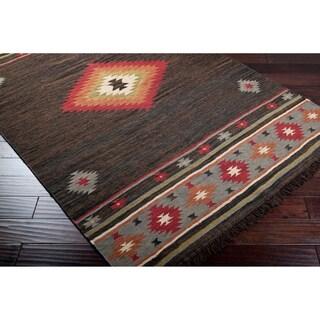 Hand-woven Brown Southwestern Aztec Jewel Tone Wool Rug (2' x 3')