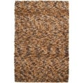 Hand-woven Leming Brown Wool Plush Shag Rug (2' x 3')