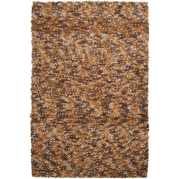 Hand-woven Leming Brown Wool Plush Shag Rug (2' x 3')
