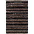 Contemporary Handwoven Garnet Gray Soft Plush Shag Rug (2' x 3')