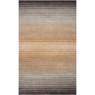Hand-crafted Brown/Grey Ombre Casual Kiewa Wool Rug (2' x 3')
