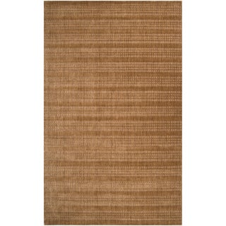 Hand-crafted Light Brown Solid Casual Indus Valley Wool Rug (2' x 3')